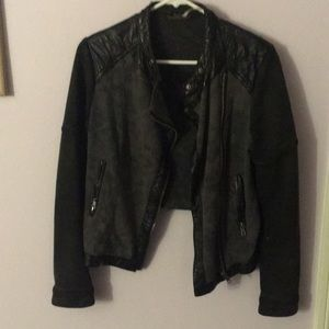 Free People Sweatshirt Jacket with faux leather